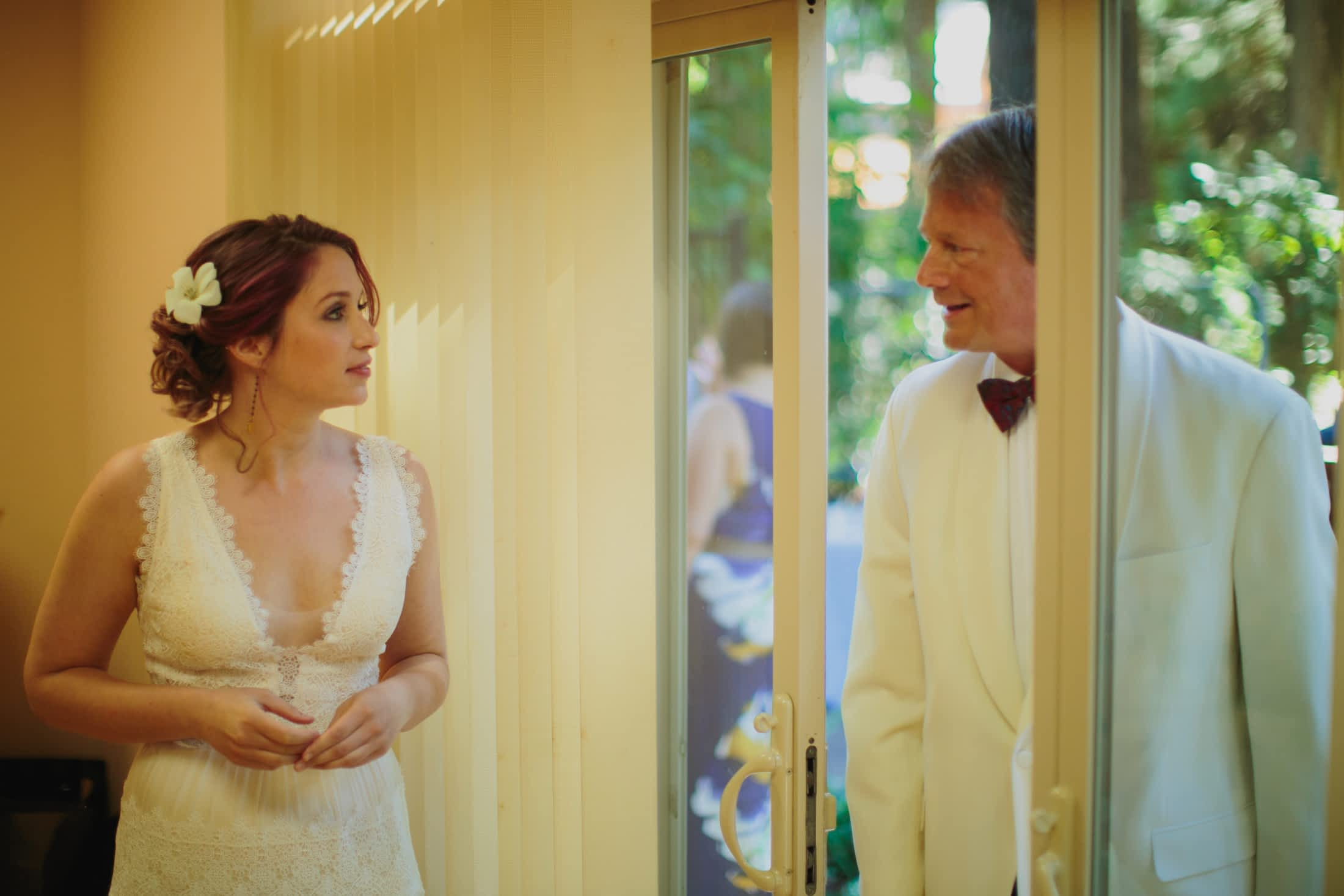 Bride seeing her father on her wedding day.