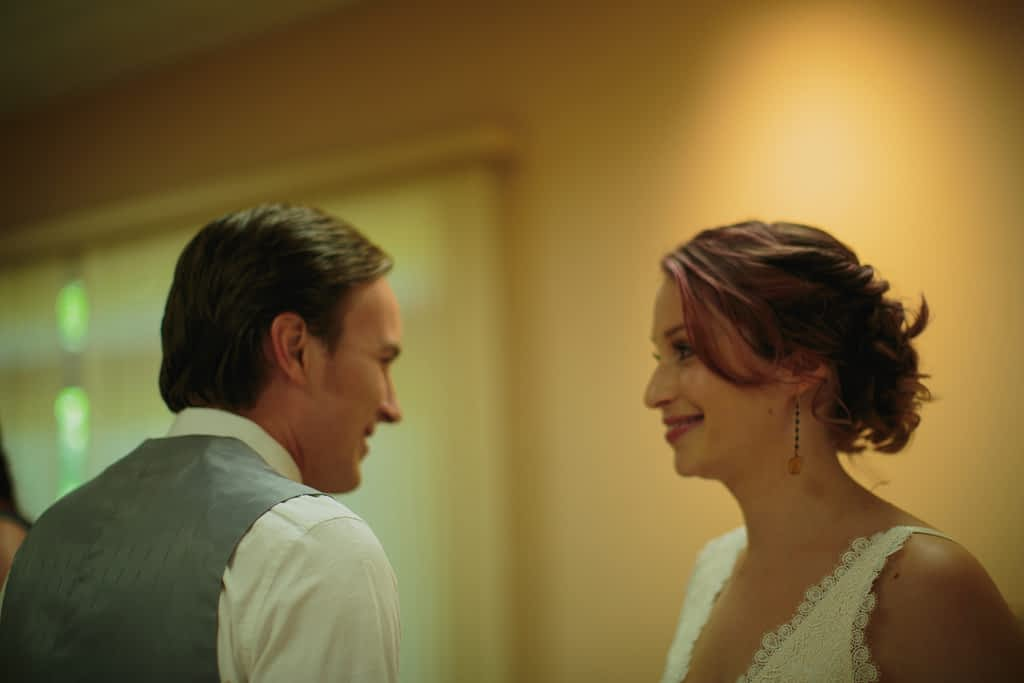 Bride and groom are seeing each other for the first time.