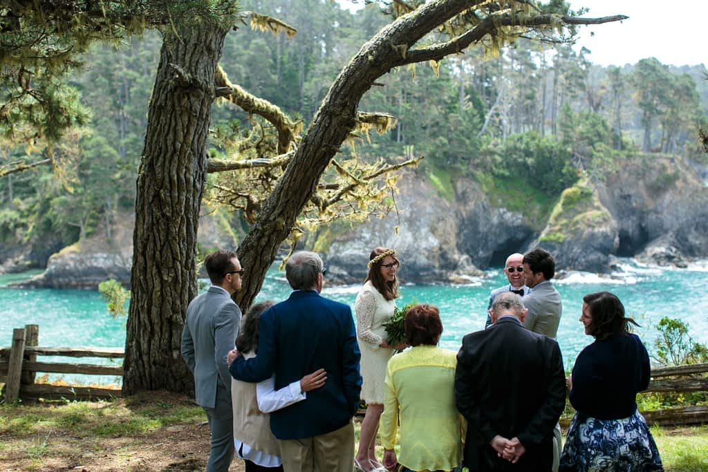 A wedding ceremony at the Russian Gulch State Park in Mendocino, CA.