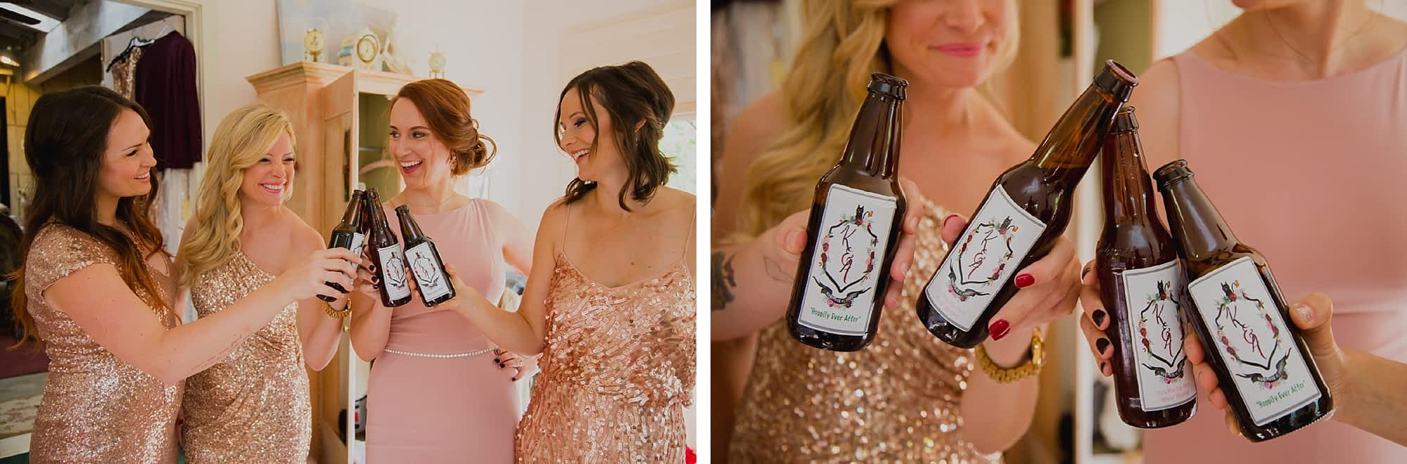 "The bride and bridesmaids cheers each other with their custom home brews, complete with custom ""K&A"" labels."
