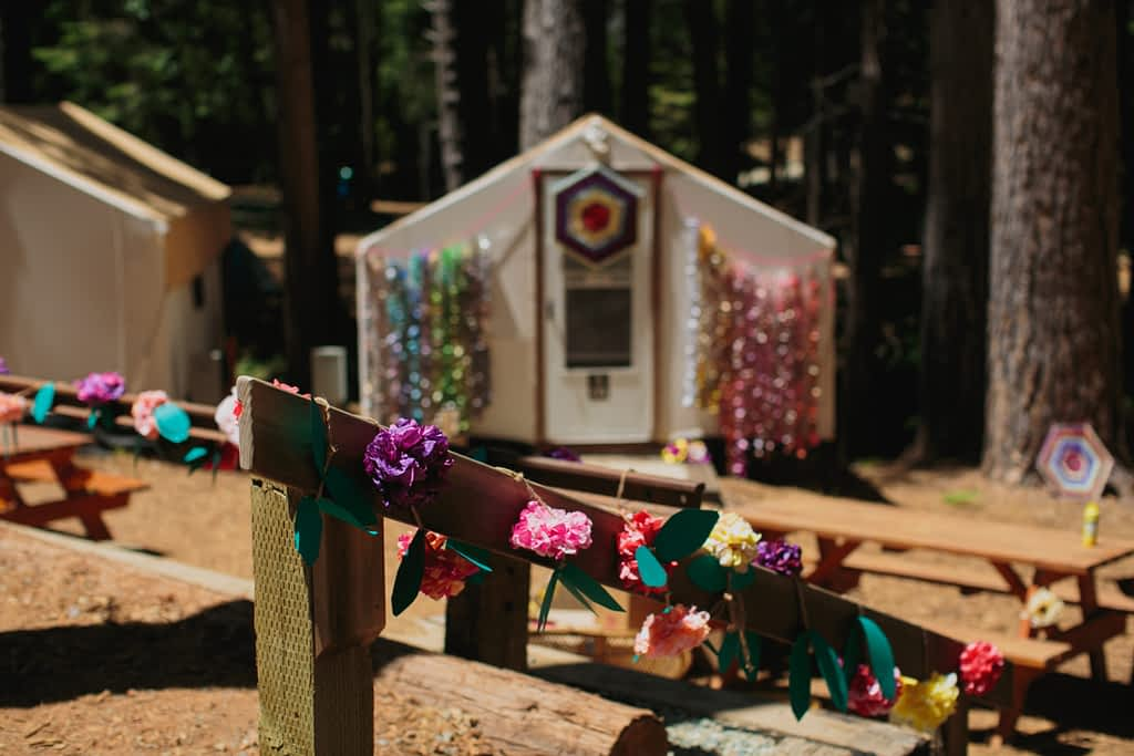 Decorated glamping tent for the wedding weekend.