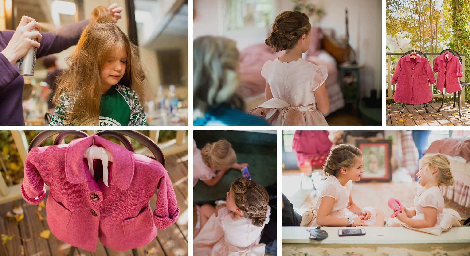 A collage of images of the flower girls. One girl closes her eyes while getting hairspray. Their pink handmade coats hang on chairs on the back patio. Their hair is both done in braided up-dos and the play together in their handmade pink dresses.