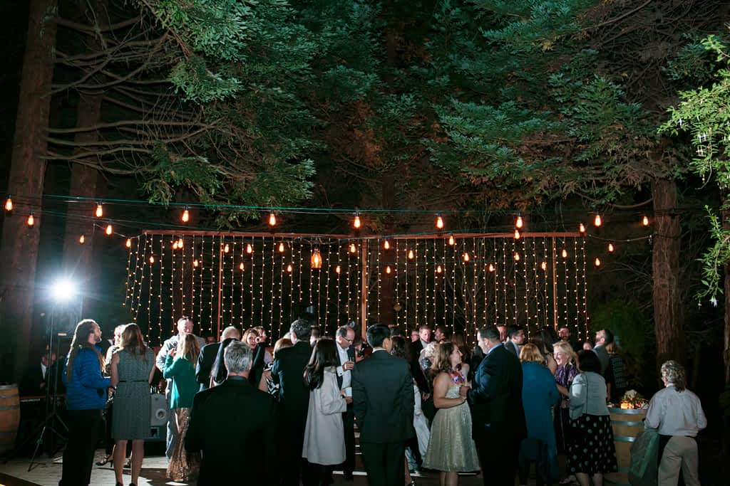 A far away look of the entire dance floor shows all the different lighting and the Redwood trees above.