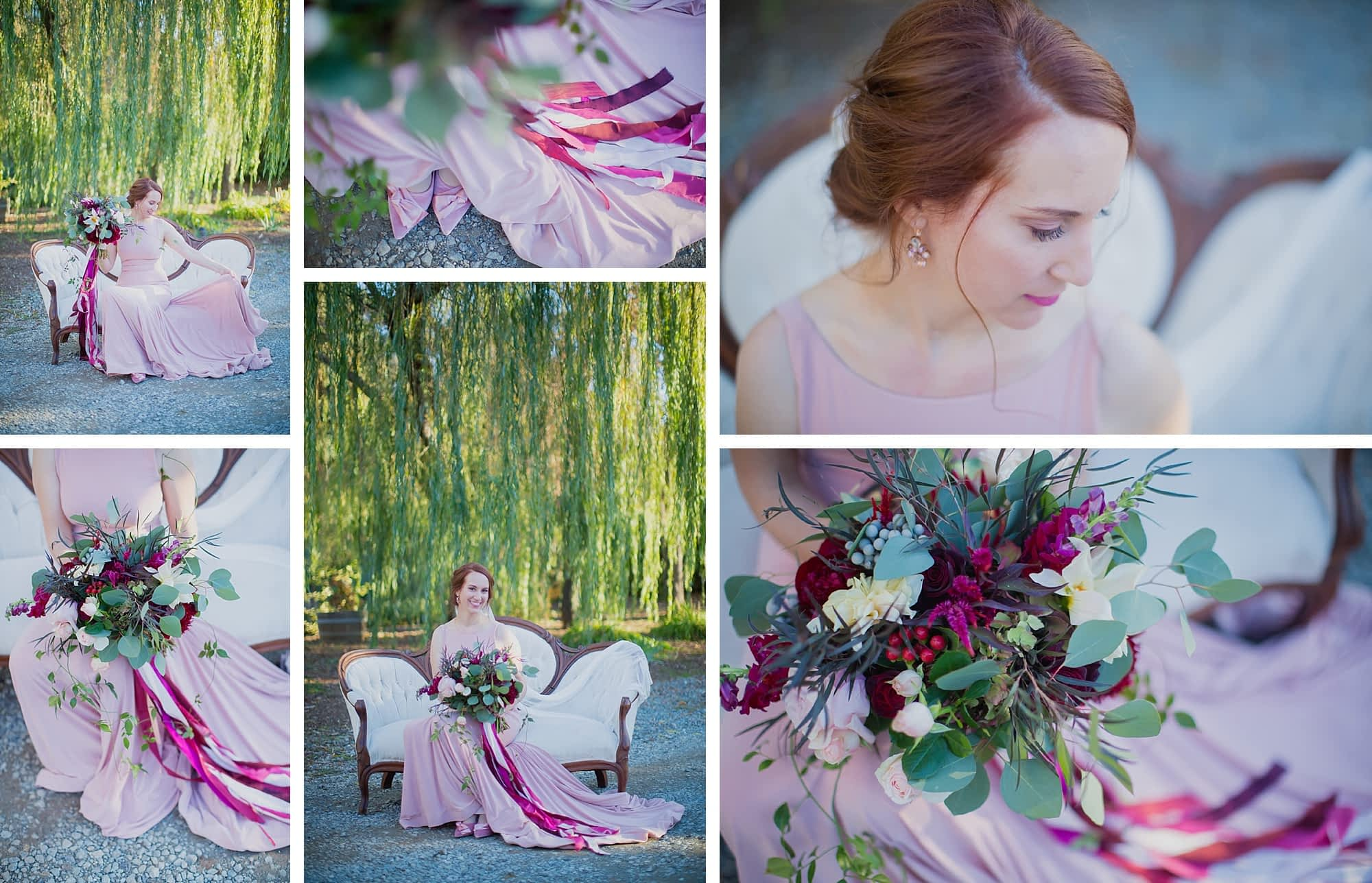 A collage of images shows off the bride in her blush gown, sitting on a vintage white couch in front of a willow tree. Her cascading bouquet has long dark pink streamers.