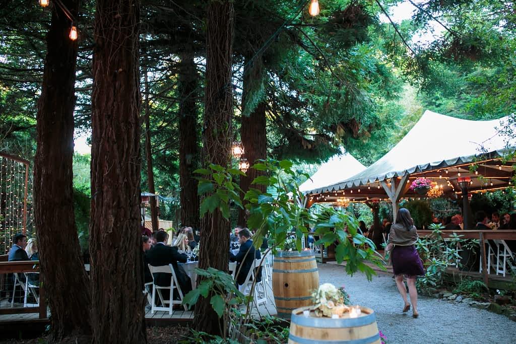 Wedding reception area of Bodega Bay's Secret Gardens.